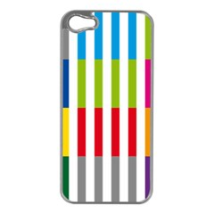 Color Bars Rainbow Green Blue Grey Red Pink Orange Yellow White Line Vertical Apple iPhone 5 Case (Silver)