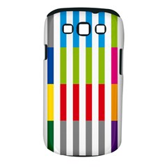 Color Bars Rainbow Green Blue Grey Red Pink Orange Yellow White Line Vertical Samsung Galaxy S III Classic Hardshell Case (PC+Silicone)