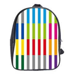 Color Bars Rainbow Green Blue Grey Red Pink Orange Yellow White Line Vertical School Bags (XL)