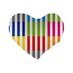 Color Bars Rainbow Green Blue Grey Red Pink Orange Yellow White Line Vertical Standard 16  Premium Heart Shape Cushions