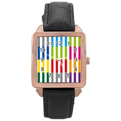 Color Bars Rainbow Green Blue Grey Red Pink Orange Yellow White Line Vertical Rose Gold Leather Watch