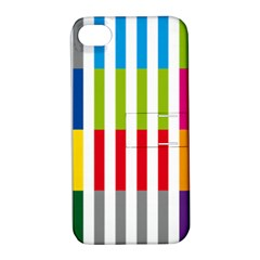 Color Bars Rainbow Green Blue Grey Red Pink Orange Yellow White Line Vertical Apple iPhone 4/4S Hardshell Case with Stand