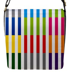 Color Bars Rainbow Green Blue Grey Red Pink Orange Yellow White Line Vertical Flap Messenger Bag (S)