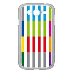 Color Bars Rainbow Green Blue Grey Red Pink Orange Yellow White Line Vertical Samsung Galaxy Grand DUOS I9082 Case (White)
