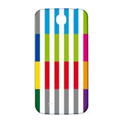 Color Bars Rainbow Green Blue Grey Red Pink Orange Yellow White Line Vertical Samsung Galaxy S4 I9500/I9505  Hardshell Back Case