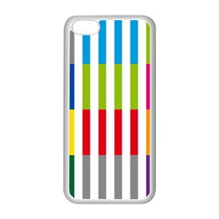 Color Bars Rainbow Green Blue Grey Red Pink Orange Yellow White Line Vertical Apple iPhone 5C Seamless Case (White)