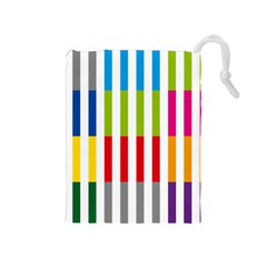 Color Bars Rainbow Green Blue Grey Red Pink Orange Yellow White Line Vertical Drawstring Pouches (Medium)