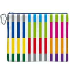 Color Bars Rainbow Green Blue Grey Red Pink Orange Yellow White Line Vertical Canvas Cosmetic Bag (XXXL)