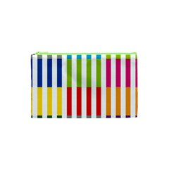 Color Bars Rainbow Green Blue Grey Red Pink Orange Yellow White Line Vertical Cosmetic Bag (XS)