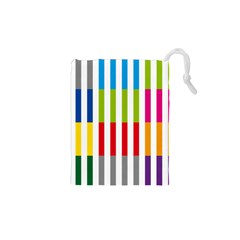 Color Bars Rainbow Green Blue Grey Red Pink Orange Yellow White Line Vertical Drawstring Pouches (XS)