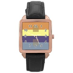 Color Therey Orange Yellow Purple Blue Rose Gold Leather Watch