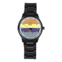 Color Therey Orange Yellow Purple Blue Stainless Steel Round Watch