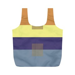 Color Therey Orange Yellow Purple Blue Full Print Recycle Bags (M)
