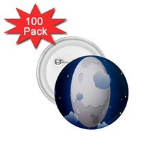 Cloud Moon Star Blue Sky Night Light 1 75  Buttons (100 Pack)