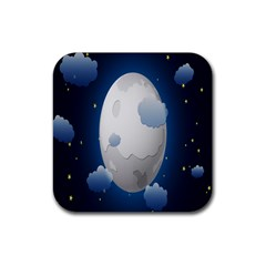 Cloud Moon Star Blue Sky Night Light Rubber Coaster (Square)