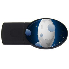 Cloud Moon Star Blue Sky Night Light Usb Flash Drive Oval (2 Gb)