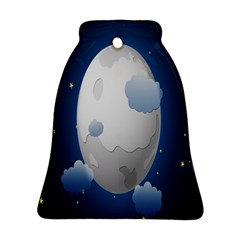 Cloud Moon Star Blue Sky Night Light Bell Ornament (Two Sides)