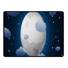 Cloud Moon Star Blue Sky Night Light Double Sided Fleece Blanket (Small)
