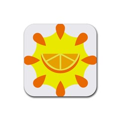 Citrus Cutie Request Orange Limes Yellow Rubber Square Coaster (4 pack)