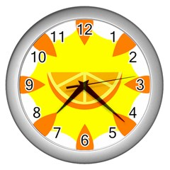 Citrus Cutie Request Orange Limes Yellow Wall Clocks (Silver)