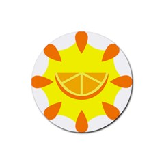 Citrus Cutie Request Orange Limes Yellow Rubber Round Coaster (4 pack)