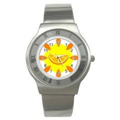 Citrus Cutie Request Orange Limes Yellow Stainless Steel Watch