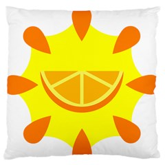 Citrus Cutie Request Orange Limes Yellow Large Flano Cushion Case (Two Sides)