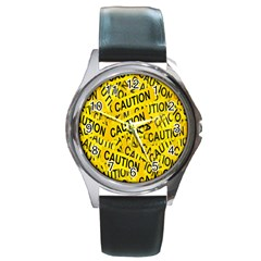 Caution Road Sign Cross Yellow Round Metal Watch