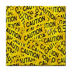 Caution Road Sign Cross Yellow Tile Coasters