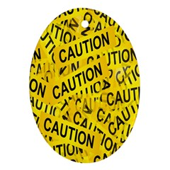 Caution Road Sign Cross Yellow Ornament (oval)