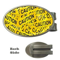 Caution Road Sign Cross Yellow Money Clips (oval)