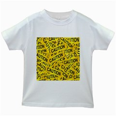 Caution Road Sign Cross Yellow Kids White T-Shirts