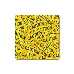 Caution Road Sign Cross Yellow Square Magnet