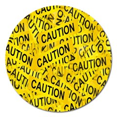Caution Road Sign Cross Yellow Magnet 5  (Round)