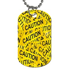 Caution Road Sign Cross Yellow Dog Tag (One Side)