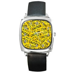 Caution Road Sign Cross Yellow Square Metal Watch