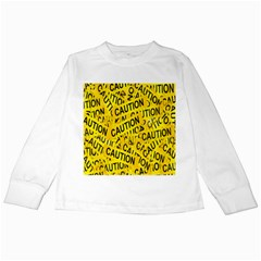 Caution Road Sign Cross Yellow Kids Long Sleeve T-Shirts