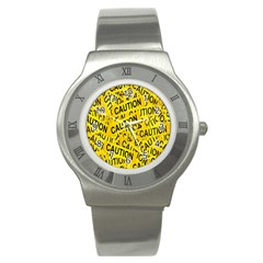 Caution Road Sign Cross Yellow Stainless Steel Watch