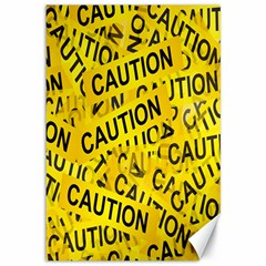 Caution Road Sign Cross Yellow Canvas 12  X 18