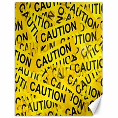 Caution Road Sign Cross Yellow Canvas 18  x 24