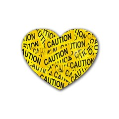 Caution Road Sign Cross Yellow Rubber Coaster (Heart)