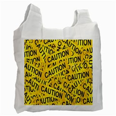 Caution Road Sign Cross Yellow Recycle Bag (Two Side)