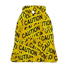 Caution Road Sign Cross Yellow Bell Ornament (Two Sides)