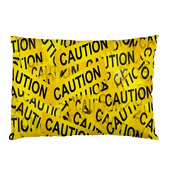 Caution Road Sign Cross Yellow Pillow Case (Two Sides)