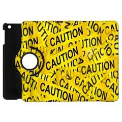 Caution Road Sign Cross Yellow Apple iPad Mini Flip 360 Case