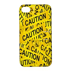 Caution Road Sign Cross Yellow Apple iPhone 4/4S Hardshell Case with Stand