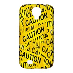 Caution Road Sign Cross Yellow Samsung Galaxy S4 Classic Hardshell Case (PC+Silicone)