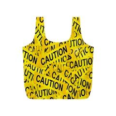 Caution Road Sign Cross Yellow Full Print Recycle Bags (S)
