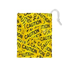 Caution Road Sign Cross Yellow Drawstring Pouches (Medium)