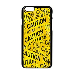Caution Road Sign Cross Yellow Apple iPhone 6/6S Black Enamel Case